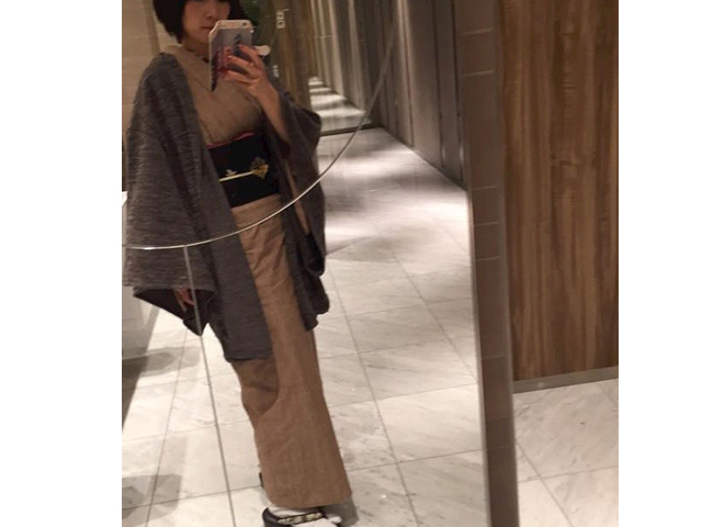 Aラインドレープ着物「カーテガンコート」