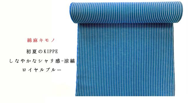 初夏のKIPPE しなやかなシャリ感-涼縞ーロイヤルブルー