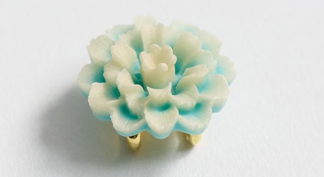 帯留め「Ajian sugar art flower- 翡翠」